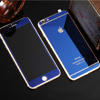 Colorful Electroplating Mirror Tempered glass Anti-shock screen protector for iPhone 6/6s