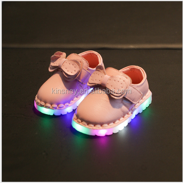 KS40295S Latest design genuine leather princess baby girl led shoes