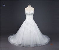 HMY-E0362 100% Factory Direct Custom A-line Hand Sew Beads Lace Appliques Bridal Wedding Gown
