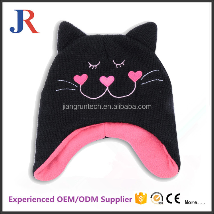 christy winter factory high quality children cartoon printed knitted cap with cat