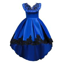 European and American style children's tail <strong>dress</strong> high-end flower girl <strong>dress</strong> 10 years old <strong>girl's</strong> birthday party <strong>dress</strong> 728