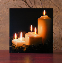Flickering candle design art canvas prints with led lights pictures for holiday decoration art work painting frameless supplies