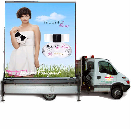 Mobile led module truck of P10RGB outdoor trailer