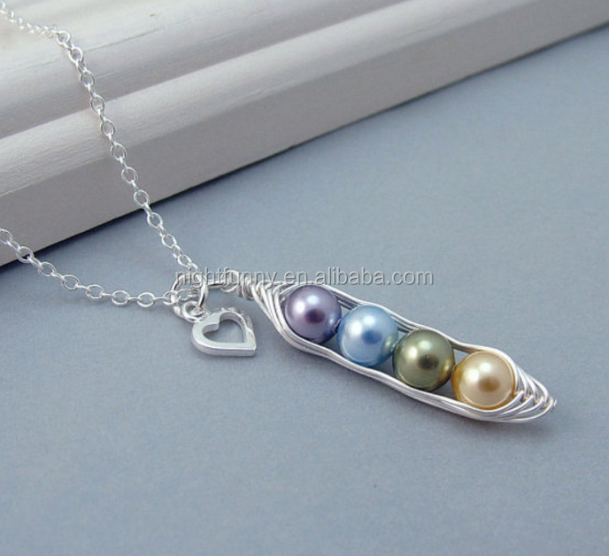 Custom Birthstone 4 Peas in a Pod Necklace,Pearl Peapod Personalised Necklace