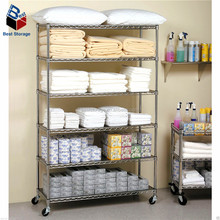 Powder coated or chrome wire mesh shelving with wheels for home or display or store use