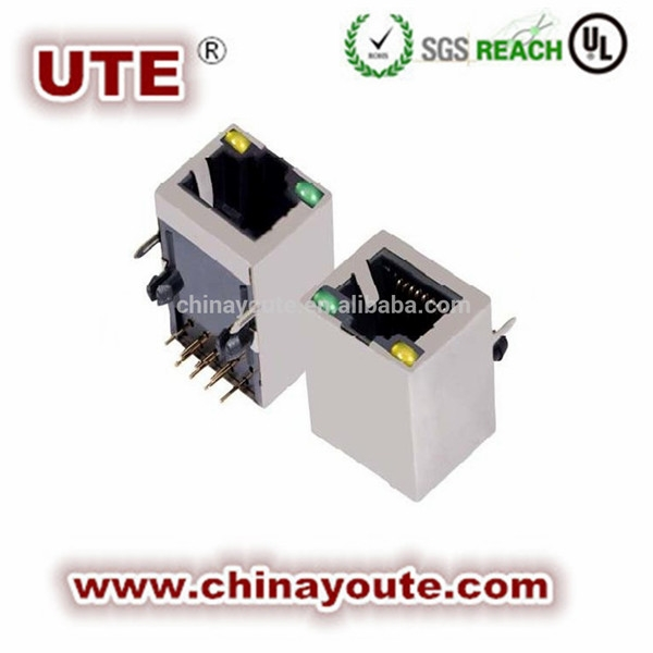 With led and transformer 1*1 port RJ45 connector/Plugs/socket
