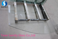 12mm irregular tempered clear float /display glass for bread cabinet with ISO,ccc