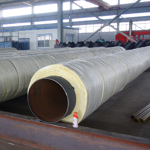 High quality insulated pipe rock wool materials filled and outer steel casing for steam supply