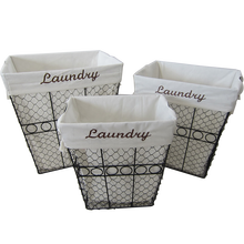 Round iron wire laundry basket storage basket with liner