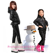 hot style black thick cotton coat and pants suit family clothing keep warm coat sets