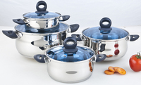 high quality kitchen induction apple/belly shape stainless steel casserole/cooking pot with bakelite handle with blue glass lid