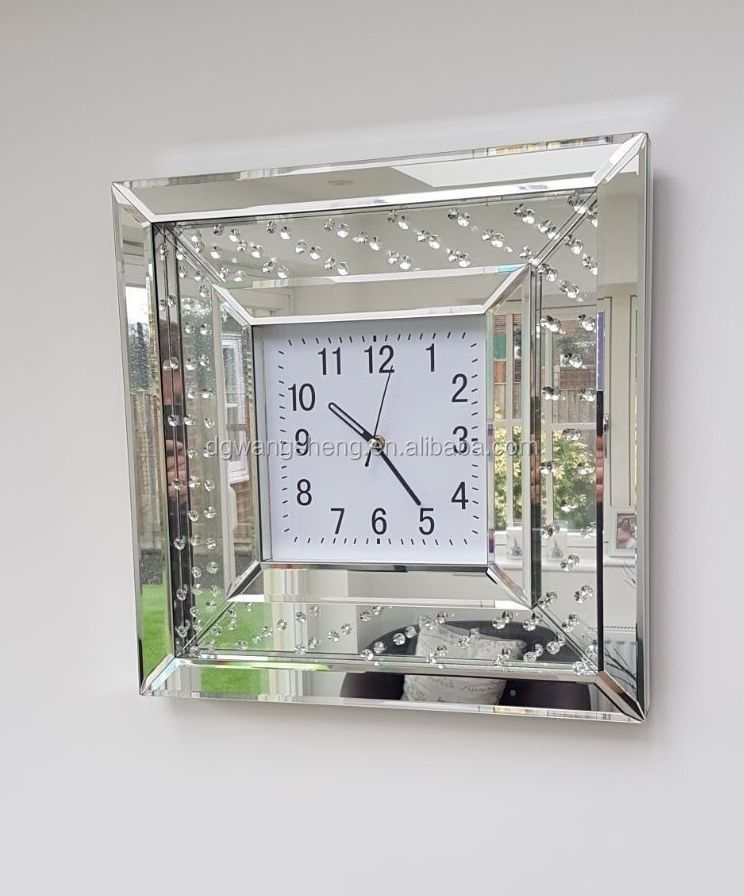 Brand New Floating Crystal Mirrored Glass Wall Clock