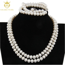 White natural freshwater pearl necklace set