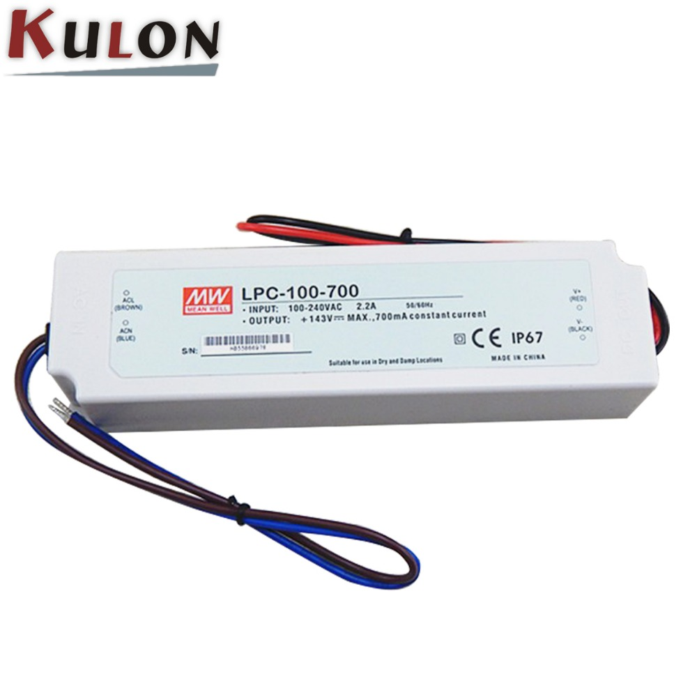 Slim type MEANWELL LPC-100-700 100w 700mA 100v dc output led driver