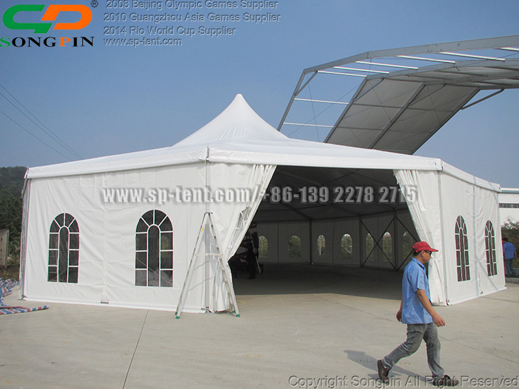 20x30m Large aluminum wedding party tent with High Peak and Polygon Ends