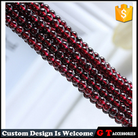 AAA Grade 4.5mm Round Red Natural Stone Semi Precious Garnet Beads For Jewelry Making
