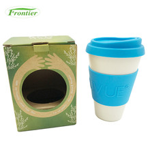 FDA Approved Non-slip 16oz Bamboo Fiber Biodegradable Coffee Cup With Lid And Sleeves