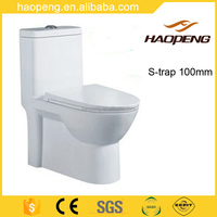 Ceramic Washdown One Piece Toilet WC Sizes/Washdown S-trap 100 mm Water Closets Price
