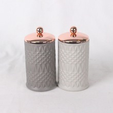 Ceramic effect unique concrete candle holder with copper lid designed for home decoration
