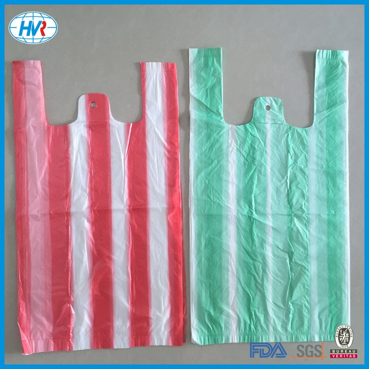 Wholesale Plastic candy stripe T-shirt bag vest carrier plastic bags