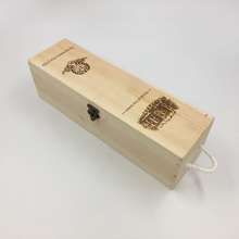 Natural wooden rectangular sliding lid wine bottle packaging box with handle