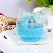 Blue Baby bed candle with box and Silk ribbon packing for birthday decor