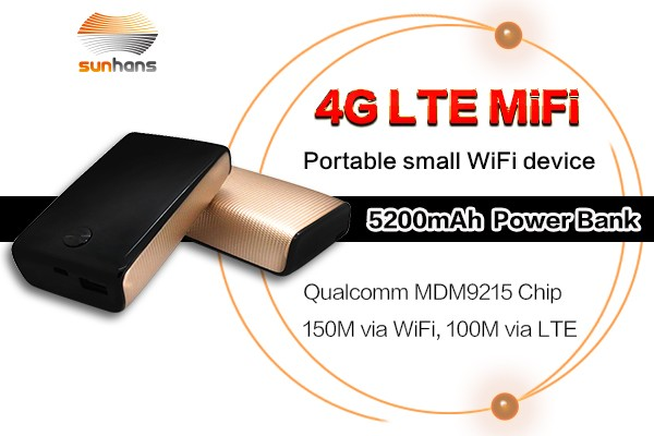 High speed smart 4G LTE WiFi Router 5200mah WiFi Hotspot with Sim