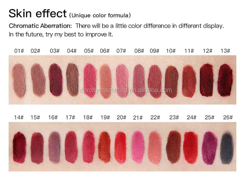 New branded 26 colors professional matte waterproof lipstick