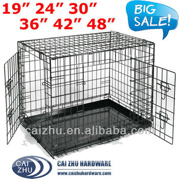 6 Sizes 2 Doors Metal Dog cage Dog Crate Folding Packing with Handle Easy to Carry