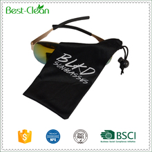 One Color Logo Printed Microfiber Pouch with Drawstring and Bead