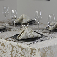 Wholesale Table Linen Polyester Jacquard TableCloth Damask Table Linen waterproof Rectangle Table Cover 60x84in Beige