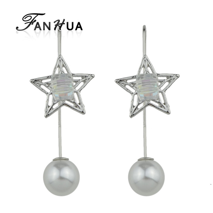 Silver Color Imitation Pearl Star Women Stick Earrings