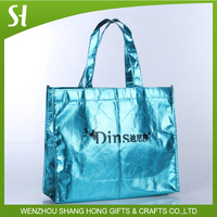 large fancy shine royal blue color tote bag with metallic laser film for shopping supermarket