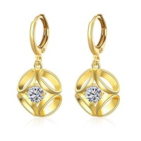 SJ Fashion Mother's Gift SJKZCE082 Exquisite Women Brass Nickel Free Real Gold Plated White Cubic Zirconia Flower Clip Earring