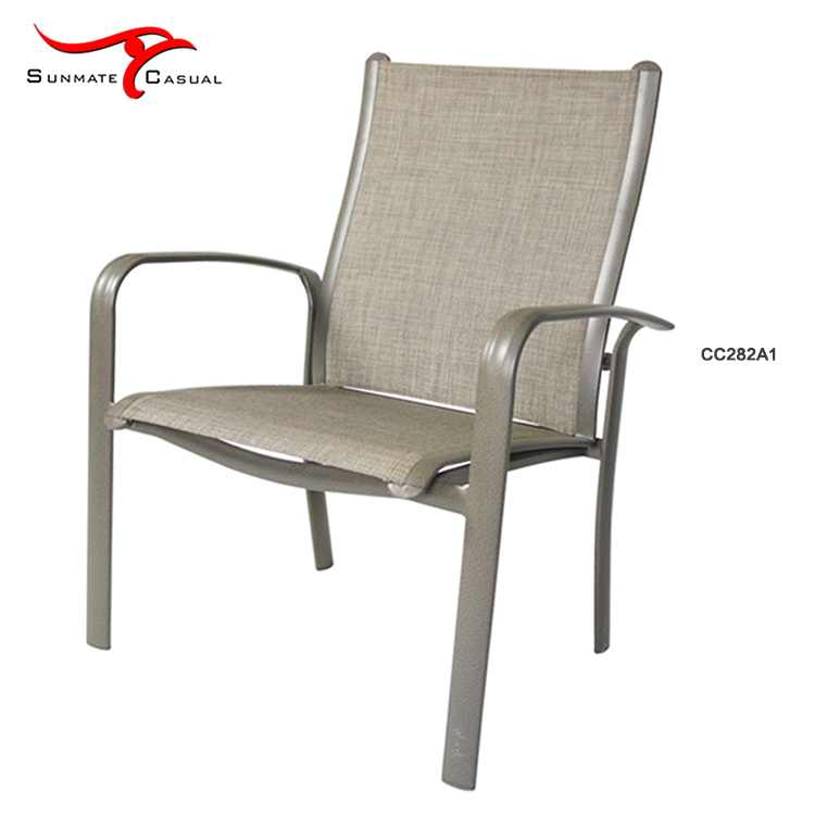 Leisure Outdoor Garden Balcony Aluminum Chair Sling Fabric Patio Stackable Chairs