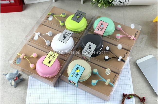 Macarons design in-ear earphones Headphones Headset For Xiaomi Samsung iPhones ipad Cute headphone for MP3 <strong>Player</strong>