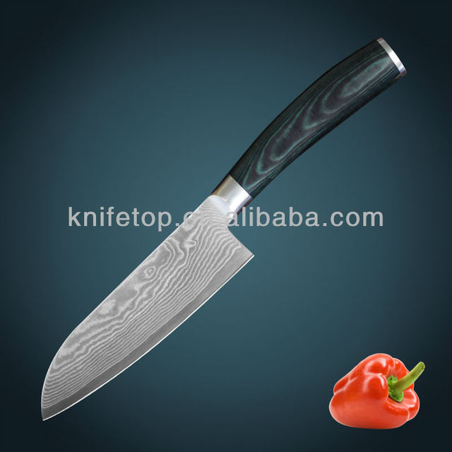 Super quality Japanese VG10 67 layers Damascus stainless steel santoku knife with forged micarta handle