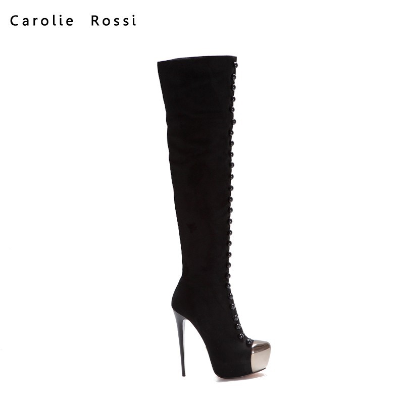 natural rubber thigh high boots sexy ladies black high heel steel toe shoes over knee boots women