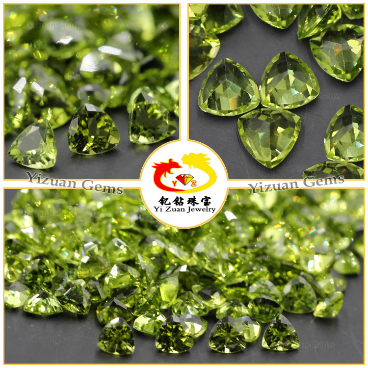 Chinese Trillion shaped Natural Peridot loose gemstones