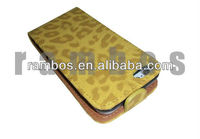 Wholesale soft leather leopard print cover case for iPhone 5 5G