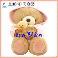 promotional cheap plush teddy bear with dress and hold a duck stuffed toys