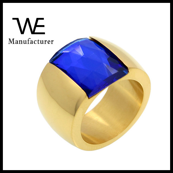2016 hot new stainless steel stone models simple fashion lady golden sex ring