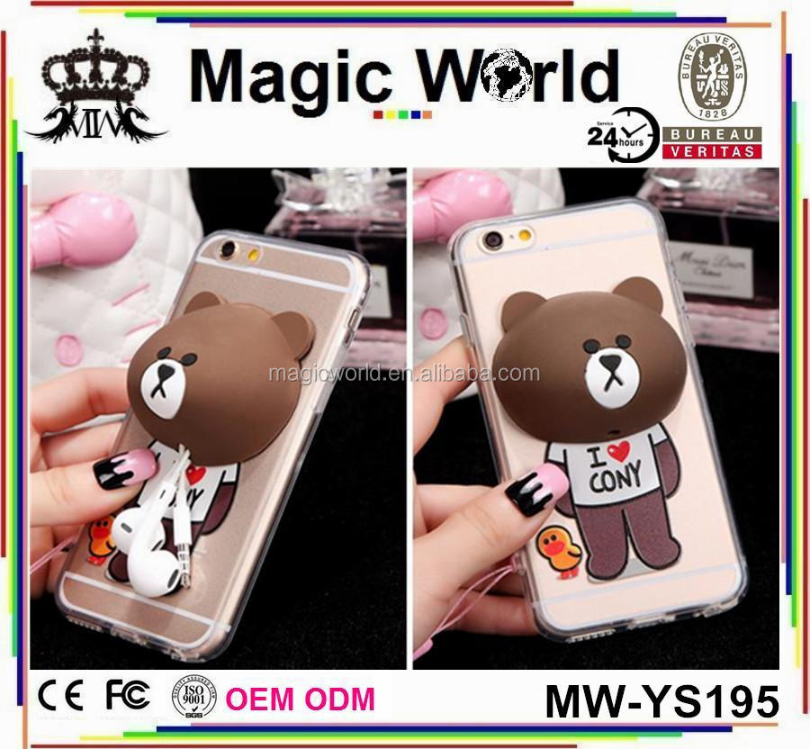TPU Cute Bear Mobile Phone Holder Case For iPhone 6 6S