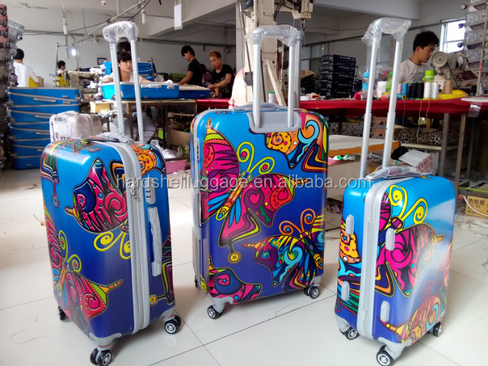 professional hebei baoding baigou hard shell luggage factory manufacturer ABS/PC/PP trolley suitcases