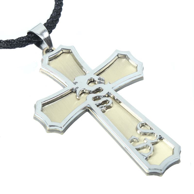 Hot Silver Stainless Steel Unisex's Men Silver Cross Pendant Necklace With Engravable Dragon