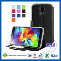 Cheapest phone protective contrast color leather case for samsung galaxy s5