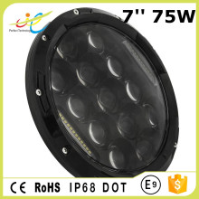 Car front h4 led 75w 7'' head light drl hi-lo beam driving work lamp with dot approved