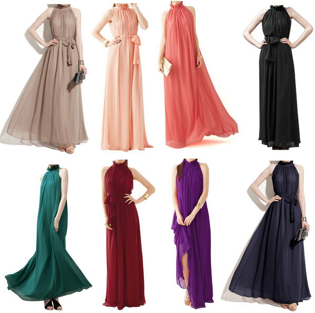 Long Chiffon Bridesmaid Formal Gown Ball Party Cocktail Evening Prom Maxi Dress