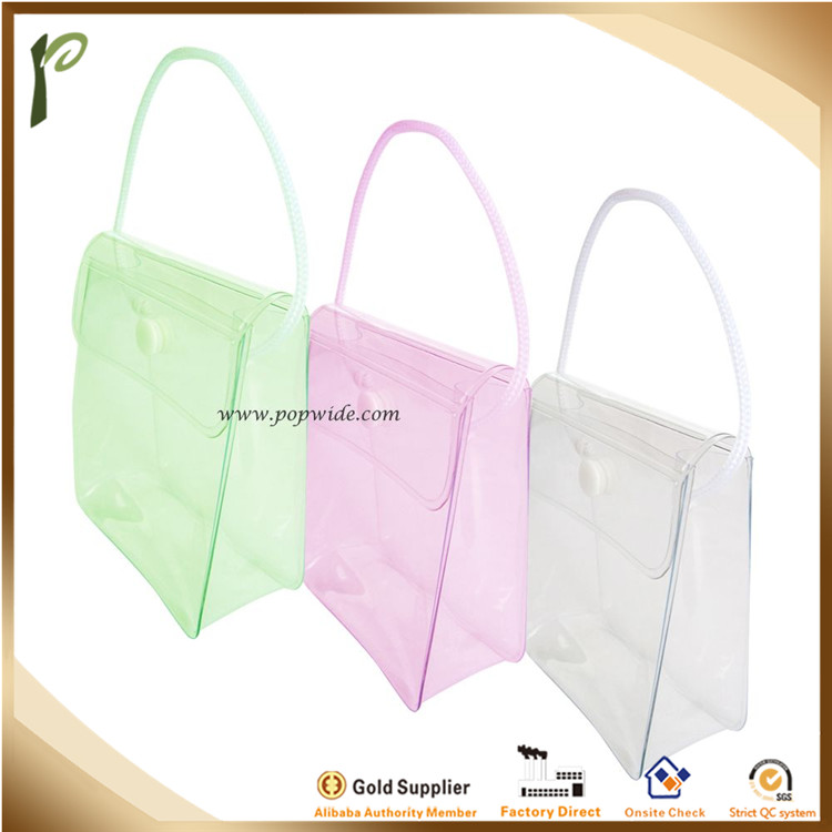 Popwide newest high quality cosmetic Pvc Button Bag