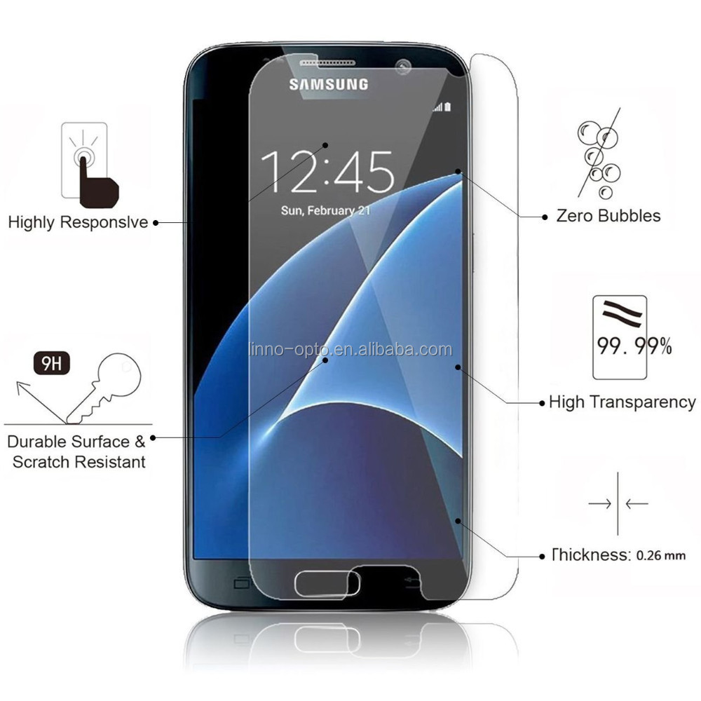 Wholesale 9H 2.5D round edge tempered glass screen protector for Samsung galaxy S7 protector film